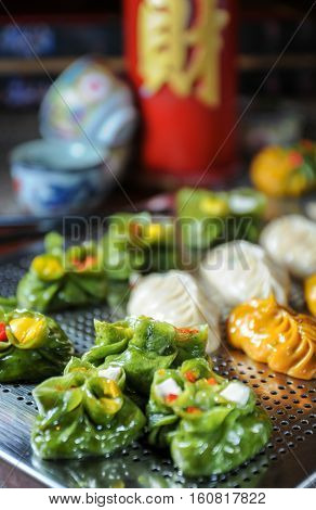 Variety of Chinese cuisine Dim Sum close up