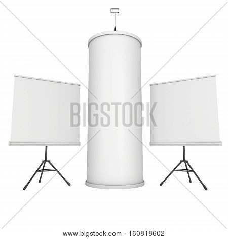 Roll Up and Pop Up Banner Stands and Column. Trade show booth white and blank. 3d render isolated on white background.