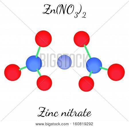 Zinc nitrate ZnN2O6 molecule isolated on white