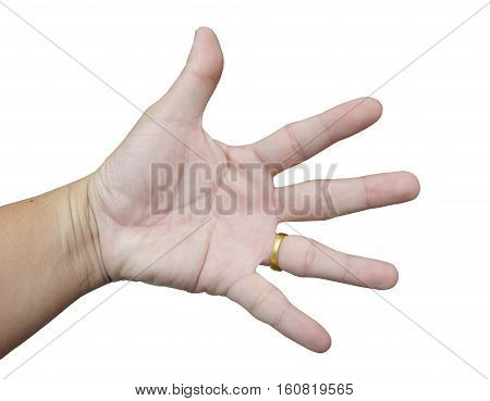 Men Asia, the Five Fingers, finger pointing and showing.