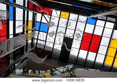 Wroclaw, Poland - October 18, 2015: Futuristic interior of modern shopping center
