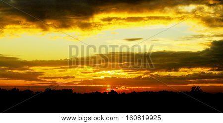 incredibly beautiful sky with sunset at horizon