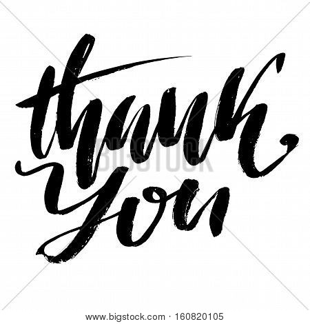 Thank You handwritten inscription. Hand drawn lettering. Thanks card. Vector illustration