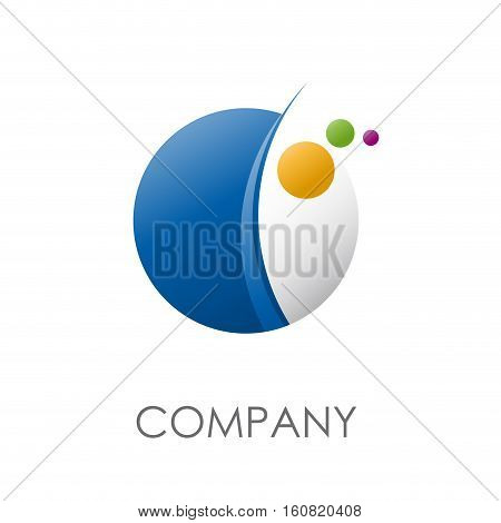 Vector sign abstract spheres and planets, isolated illustration