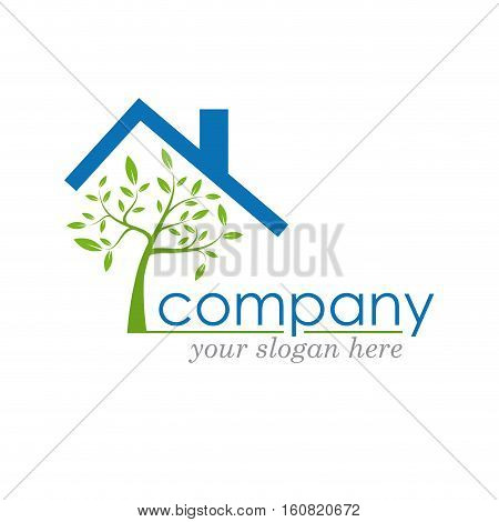 Vector sign eco house, protect tree in house