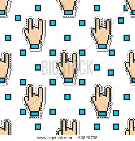 Thumbs Hand Rock vector seamless pattern. gestures pixel art style. Two fingers sign design concept background. For use on rock concerts, festivals and computers games.