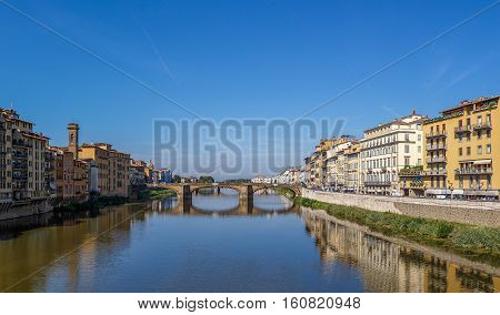Ponte Santa Trinita Over The Arno River In Florence