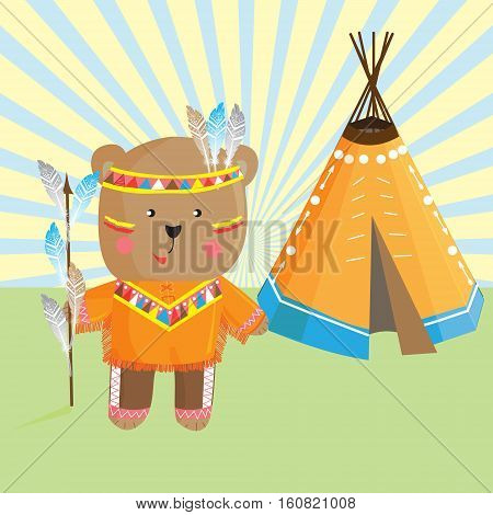 Cute bear Indian headdress and traditional clothing of the indigenous people and the Lodge .Vector illustration in cartoon style for design-shirt toddler or children's historical map