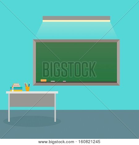 The interior is class with school Board and teacher's Desk. Vector illustration. Back to school.