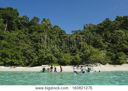 TERENGGANU MALAYSIA - JUNE 17 2008 : Tourist at Perhentian Kecil Island beach Terengganu Malaysia.