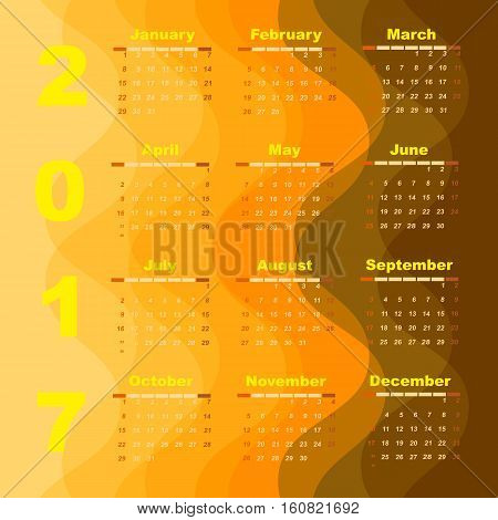 Create wave 2017 calendar template stock vector