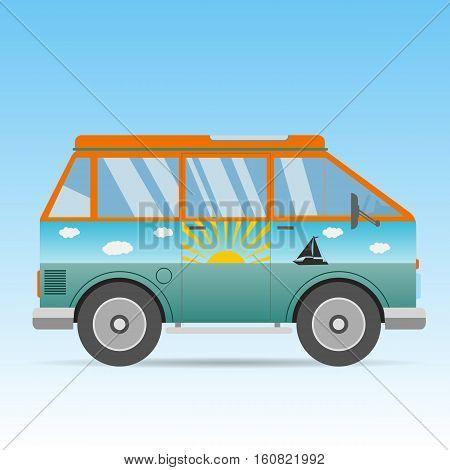 Vintage Sunny And Sea Color Orange Travel Bus Cartoon Van In Flat Design Vector Eps 10