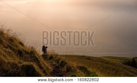 Hiker In The Golden Hour
