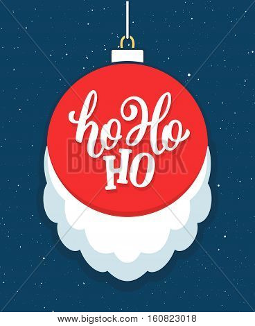 Ho-Ho-Ho lettering on red Christmas ball with white Santa's beard. Vector greeting card for winter season greetings