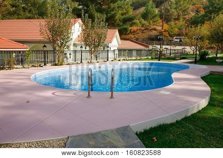 Swimming pool at holiday villa in Cyprus.
