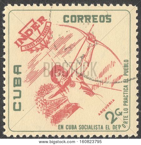 MOSCOW RUSSIA - CIRCA NOVEMBER 2016: a post stamp printed in CUBA shows an archer the series