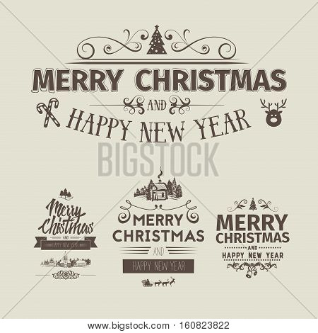 Set of retro vintage Christmas badges, design elements, labels, emblems. Badges and labels with merry christmas greetings. Great for decoration cards, backdrops, book covers