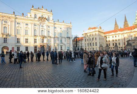 Tourists Queue In Front Of The Prague Castle
