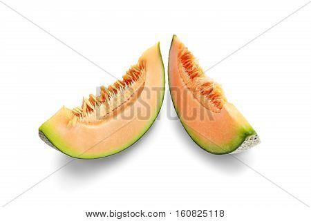 Slices appetizing orange Melon fruit isolated on white background.