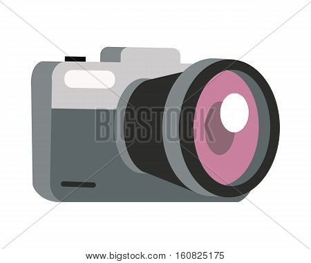 Photo camera icon. Compact digital mirrorless photo camera with lens flat vector illustration isolated on white background. Modern electronics device for photography. For store ad, logo, web design