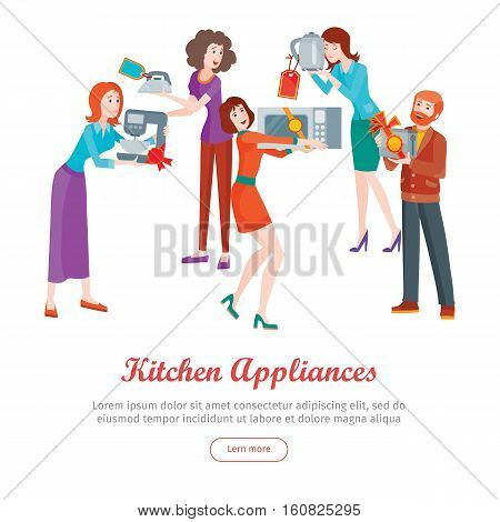 Kitchen appliances. Set of people on store sale. Flat design vector. Man and woman happy characters holding different goods with sale stickers. Home technic, electronic devices, household shopping