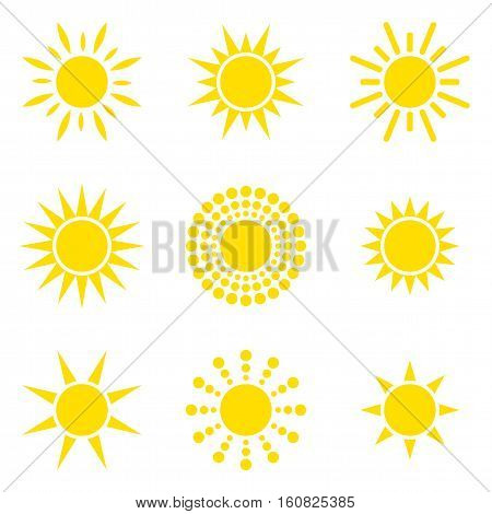 The sun icon collection. Isolated objects on a white background. Vector illustration