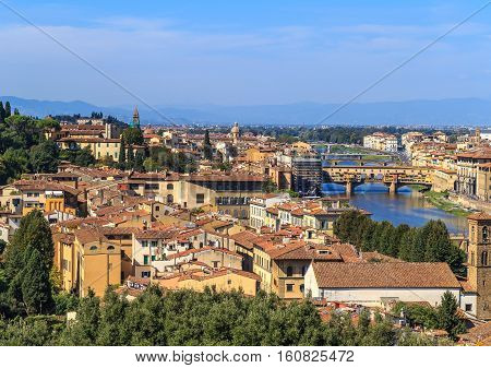 View Of The Bridge Vecchio In Florence