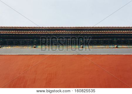 low angle of Palace red wallsThe Forbidden City in Beijing China