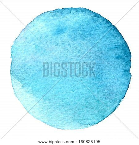 Blue Watercolor Circle. Stain With Paper Texture. Design Element Isolated On White Background. Hand