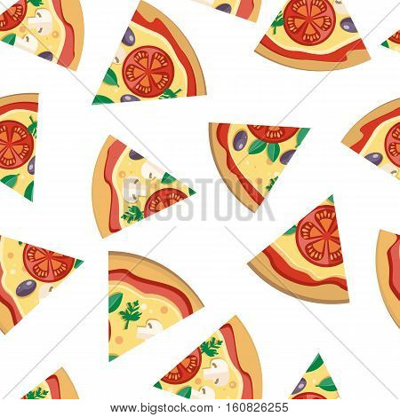 Pizza pieces vector seamless pattern. Pizza with cheese, tomatoes, mushrooms, olives and aromatic herbs on white background. For wrapping paper, web, printing materials, restaurant menus design