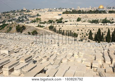 Jerusalem view of the old city from the Mount of Olives