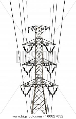 High voltage transmission lines isolated on white background. This has clipping path.