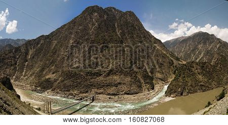 Confluence of Kondia and Indus rivers Gilgit-Baltistan Pakistan