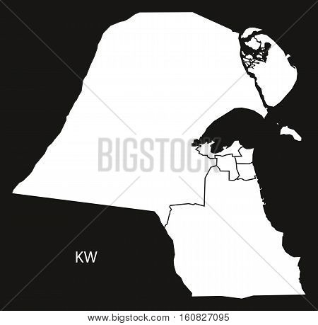Kuwait Governorates Map Black And White Illustration