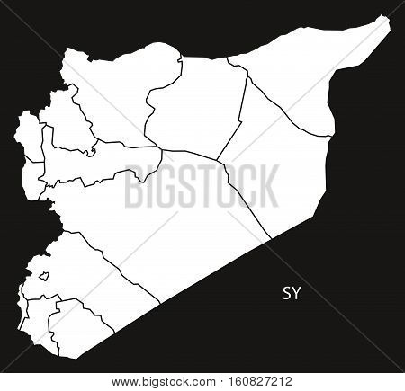 Syria Governorates Map Black And White Illustration