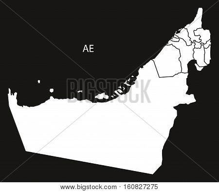 United Arab Emirates With Emirates Map Black And White Illustration