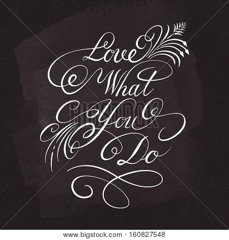 Vector lettering for your design. White on chalkboard dark background.