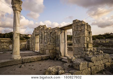 Ancient Greek basilica and marble columns in Chersonesus Taurica. Sevastopol in Crimea