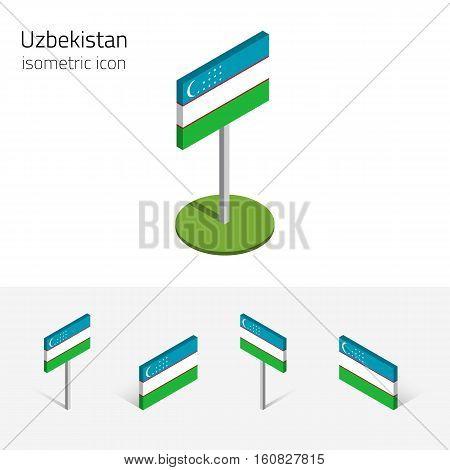 Uzbek flag (Republic of Uzbekistan) vector set of isometric flat icons 3D style different views. 100% editable design elements for banner website presentation infographic poster map. Eps 10