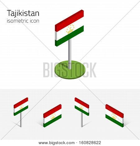 Tajikistani flag (Republic of Tajikistan) vector set of isometric flat icons 3D style different views. Editable design elements for banner website presentation infographic poster map. Eps 10