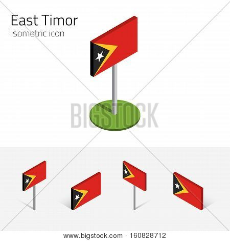 East Timor flag (Democratic Republic of Timor-Leste) vector set of isometric flat icons 3D style different views. Design elements for banner website presentation infographic map. Eps 10