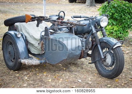 Poland, Poznań -october 1, 2016. Military Motorcycle With A Mounted Machine Gun Mg 42.