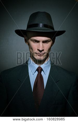 Fashionable Young Man Detective In A Stylish Hat