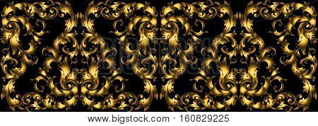 Vector Seamless Vintage Design Element. Floral Border With Stylized Baroque Scrolls. Golden Rich Mou