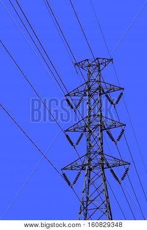 High voltage transmission lines isolated on a sky background. This has clipping path.