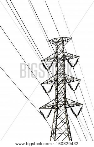 High voltage transmission lines isolated on a white background. This has clipping path.