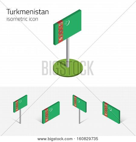 Turkmen flag (Turkmenistan) vector set of isometric flat icons 3D style different views. 100% editable design elements for banner website presentation infographic poster map card. Eps 10