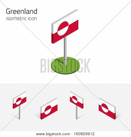 Greenland flag (Kingdom of Denmark) vector set of isometric flat icons 3D style different views. 100% editable design elements for banner website presentation infographic poster map. Eps 10