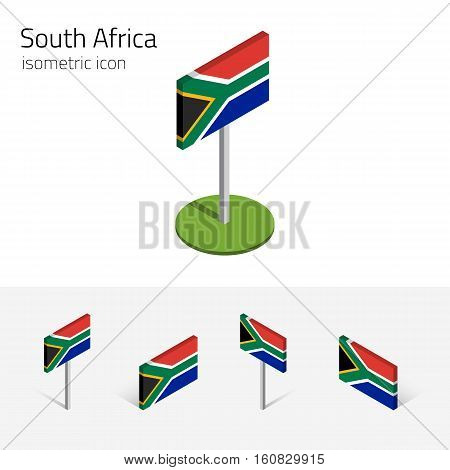 South African flag (Republic of South Africa) vector set of isometric flat icons 3D style. African country flags. Editable design elements for banner website presentation infographic map. Eps 10