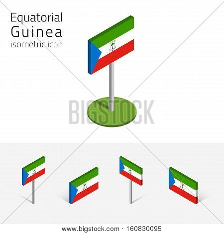 Republic of Equatorial Guinea flag vector set of isometric flat icons 3D style. African country flags. Editable design elements for banner website presentation infographic poster map. Eps 10